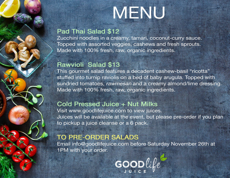 menu for Good Life juice